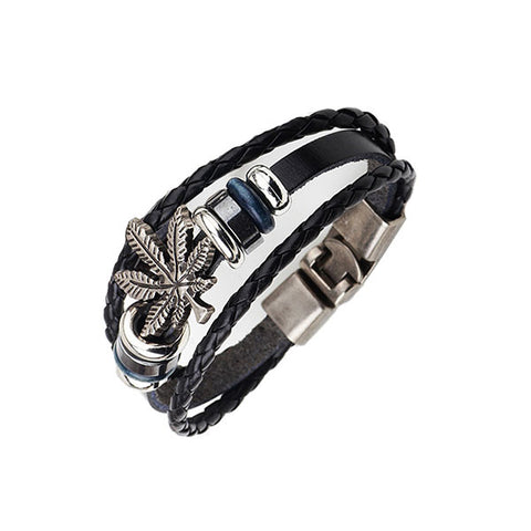 Elegant Marijuana Leaf Genuine Leather Bracelet