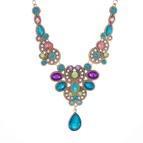 Sparkling Flowery Retro Statement Bib Necklace