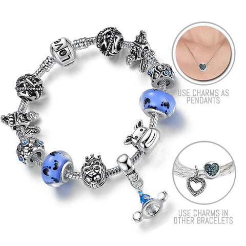 For the Disney Loving Child in Me: Silver Pandora Style Bracelet Combo Set with 11 Charms