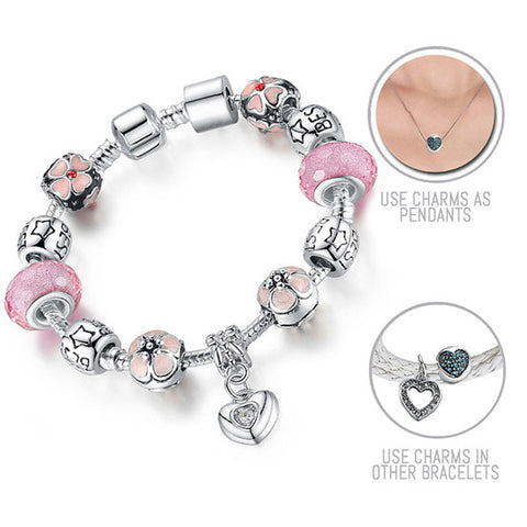 Friendship Cherry Blossoms: Silver Pandora Style Bracelet Combo Set with 12 Charms