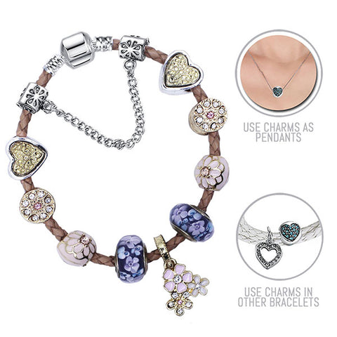 Golden Daisy Bell: Beige Pandora Style Leather Bracelet Combo Set with 11 Charms