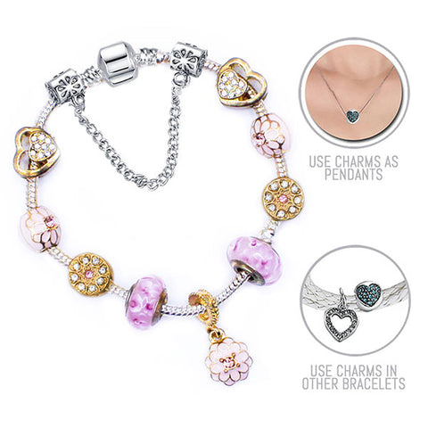 Golden Heartsong: Silver and Golden Pandora Style Bracelet Combo Set with 11 Charms