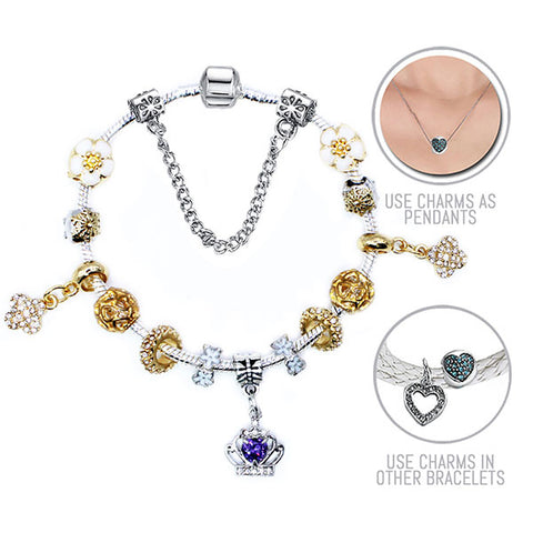 Golden Queen: Silver and Golden Pandora Style Bracelet Combo Set with 15 Charms