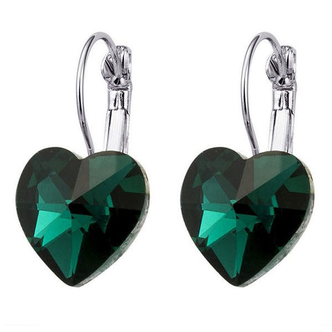 Green Heart Drop Earrings