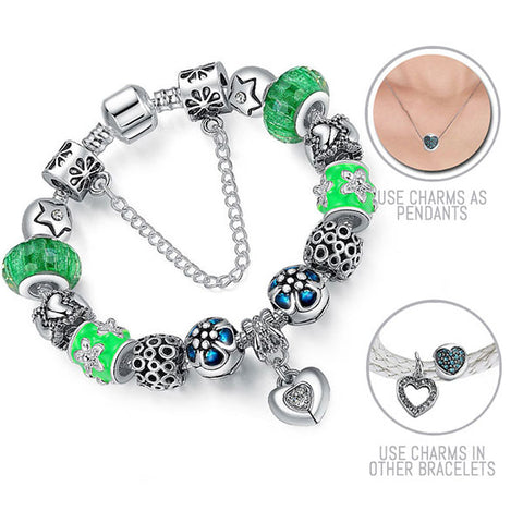Green Skies: Silver Pandora Style Bracelet Combo Set with 15 Charms