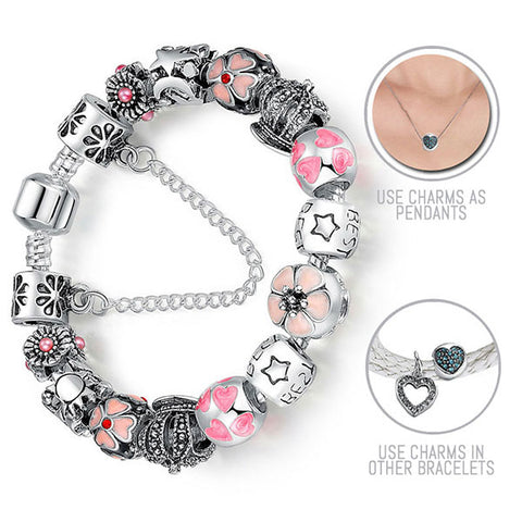 Hearts, Flowers and Best Friends: Silver Pandora Style Bracelet Combo Set with 15 Charms