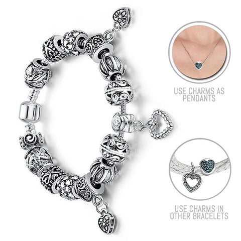 Hearts, Hearts Everywhere: Silver Pandora Style Bracelet Combo Set with 14 Charms