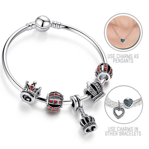 Her Royal Highness: Silver Pandora Style Bracelet Bangle Combo Set with 5 Charms