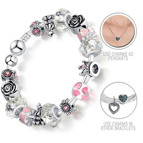 I am Your Valentine: Silver Pandora Style Bracelet Bangle Combo Set with 16 Charms