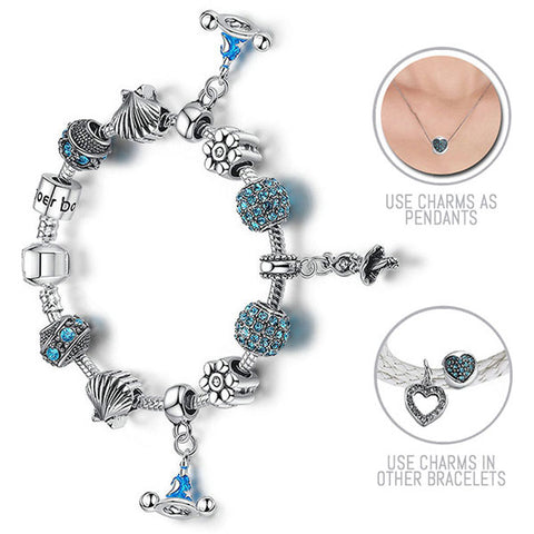 I am a Princess: Silver Pandora Style Bracelet Combo Set with 12 Charms
