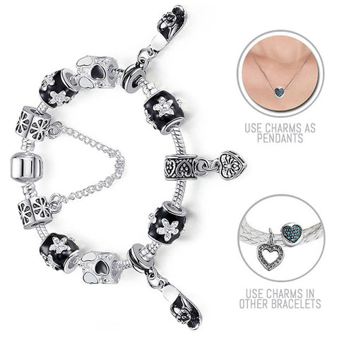 I Love Shoes! : Silver Pandora Style Bracelet Combo Set with 11 Charms