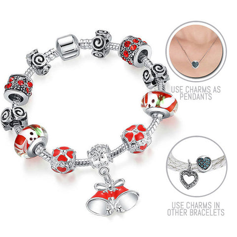 It's Beginning To Look A Lot Like Christmas: Silver Pandora Style Bracelet Combo Set with 11 Charms