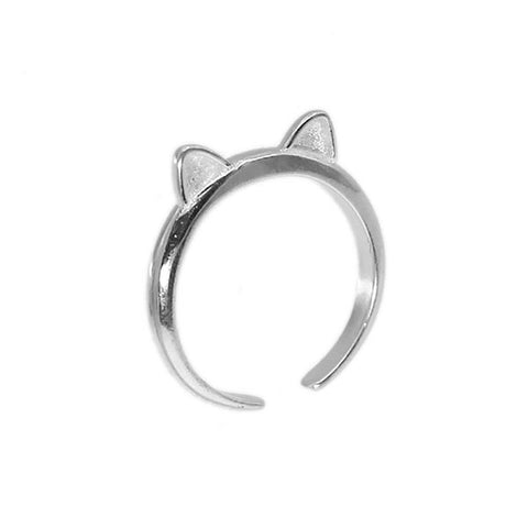 Kitty Cat's Ears Silver Ring