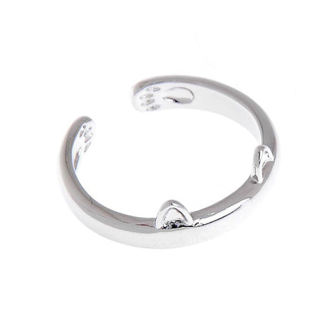 Kitty Cat's Perky Ears Silver Ring