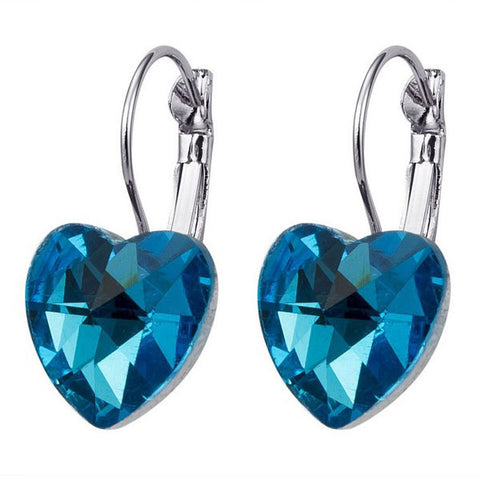 Light Blue Heart Drop Earrings