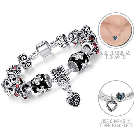 Looking for Prince Charming: Silver Pandora Style Bracelet Combo Set with 11 Charms