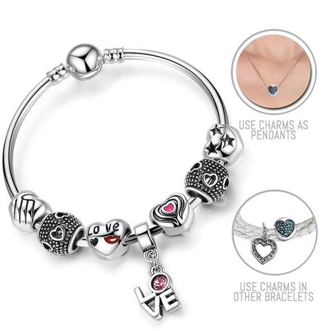 Love Actually: Silver Pandora Style Bracelet Bangle Combo Set with 7 Charms