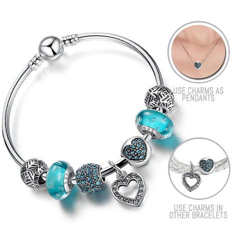 Love is Blue: Silver Pandora Style Bracelet Bangle Combo Set with 7 Charms