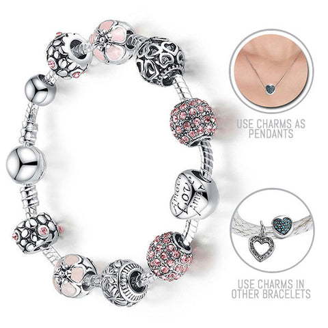 Lovely Pink Cherry Blossoms: Silver Pandora Style Bracelet Combo Set with 10 Charms