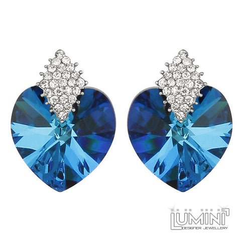 Lumini Blue Ice Queen Heart Stud Earrings
