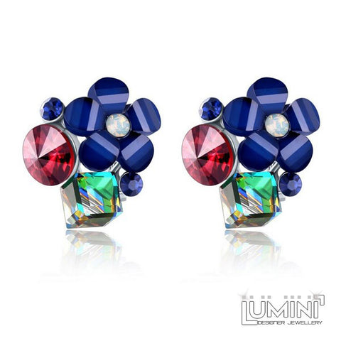 Lumini Blue Secret Garden Silver Stud Earrings