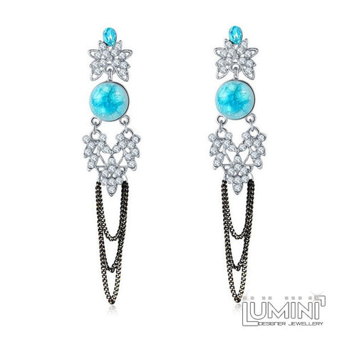 Lumini Bohemia Diamond Blue Opal Dangler Earrings
