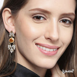 Lumini Bohemia Diamond Wine Opal Dangler Earrings
