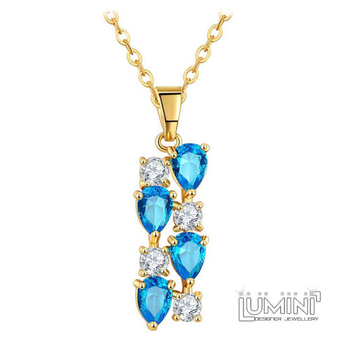 Lumini Brilliant Cerulean Blue Highlights Golden Pendant: Vines