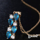 Lumini Brilliant Cerulean Blue Highlights Vines Golden Pendant