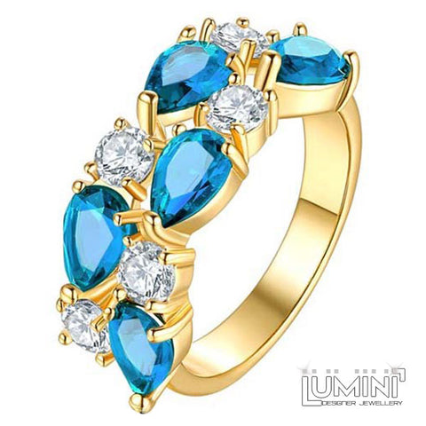 Lumini Brilliant Cerulean Blue Highlights Golden Vines Ring
