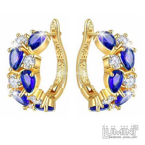 Lumini Brilliant Dark Blue Highlights Golden Earrings: Vines