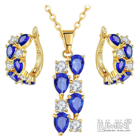Lumini Brilliant Dark Blue Highlights Golden Pendant and Earrings Set: Vines