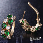Lumini Brilliant Green Highlights Golden Earrings: Vines