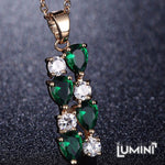 Lumini Brilliant Green Highlights Golden Pendant: Vines