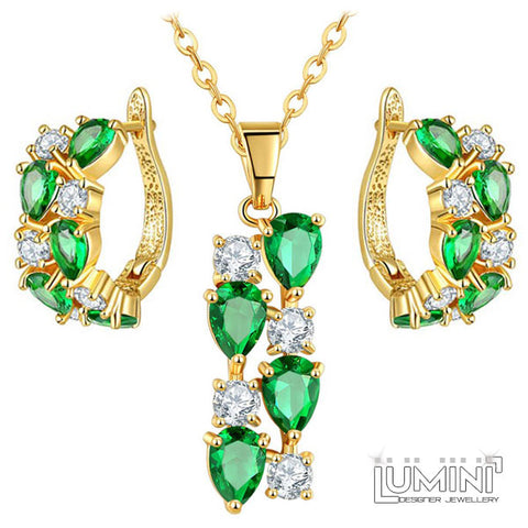 Lumini Brilliant Green Highlights Golden Pendant and Earrings Set: Vines