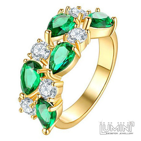Lumini Brilliant Green Highlights Golden Vines Ring