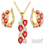 Lumini Brilliant Red Highlights Golden Pendant and Earrings Set: Vines