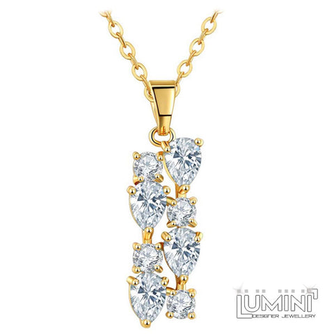 Lumini Brilliant White Highlights Golden Pendant: Vines