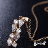 Lumini Brilliant White Highlights Golden Vines Pendant and Earrings