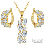 Lumini Brilliant White Highlights Golden Pendant and Earrings: Vines