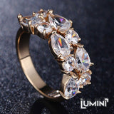 Lumini Brilliant White Highlights Golden Vines Ring