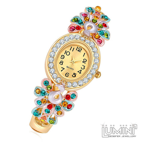 Lumini Courting Peacocks AD Yellow Gold Bangle Watch