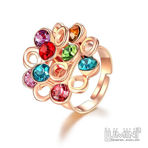 Lumini Crystal Sunflower Rose Gold Adjustable Cocktail Ring
