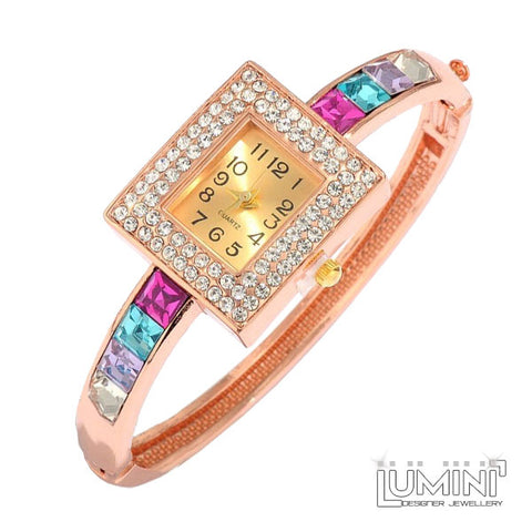 Lumini Square Crystals Rose Gold Bangle Watch