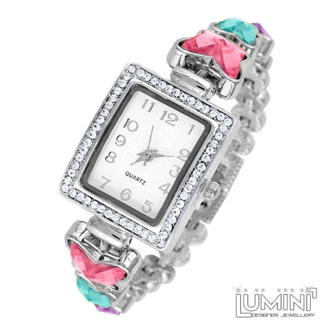 Lumini Diamos AD: American Diamond Platinum Bracelet Watch