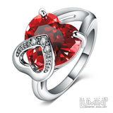 Lumini Diamos AD Burning Heart American Diamond Platinum Ring