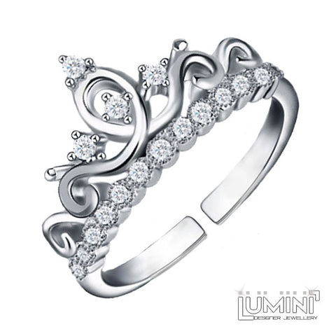 Lumini Diamos AD: Crown American Diamond Platinum Adjustable Ring