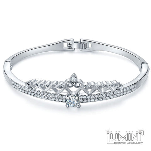 Lumini Diamos AD: Crown American Diamond Platinum Bracelet Bangle
