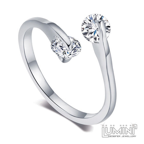 Lumini Diamos AD: Dew Drop American Diamond Platinum Adjustable Ring