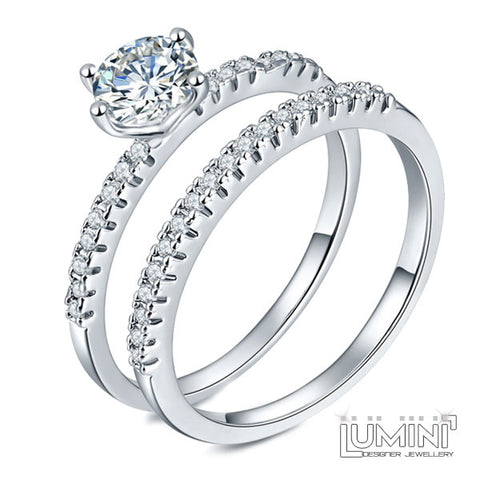 Lumini Diamos AD: Duo American Diamond Platinum Engagement Wedding Ring Set